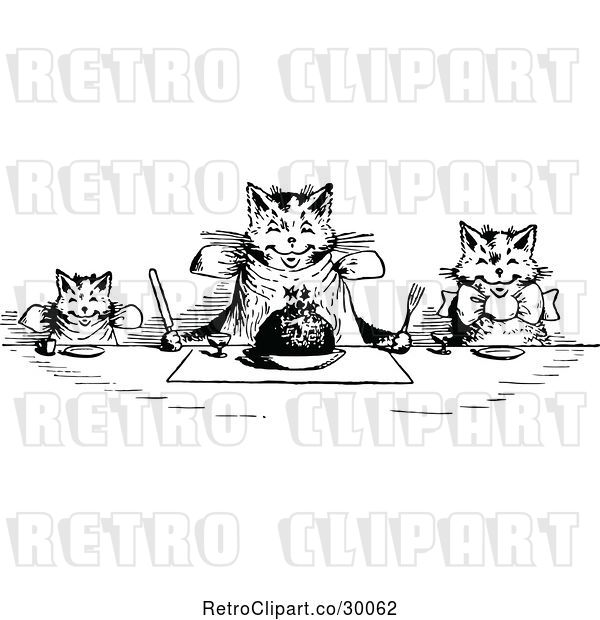 Vector Clip Art of Retro Happy Cats Eating at a Table