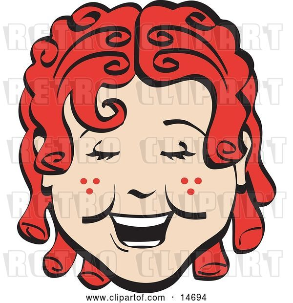 Vector Clip Art of Retro Happy Curly Red Haired Girl with Freckles, Laughing Clipart Illustration