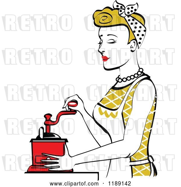 Vector Clip Art of Retro Happy Dirty Blond Housewife Using a Manual Coffee Grinder in Profile 2