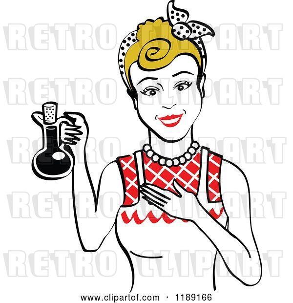 Vector Clip Art of Retro Happy Dirty Blond Lady in an Apron, Holding up a Bottle of Cooking Oil 2