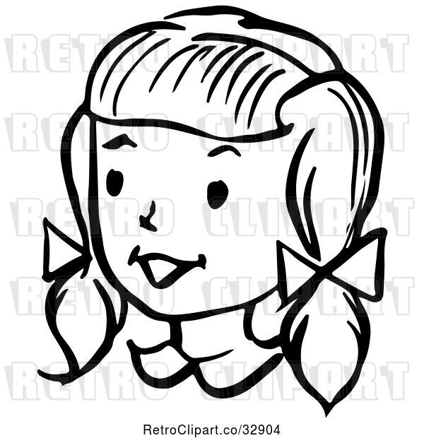 Vector Clip Art of Retro Happy Girl in