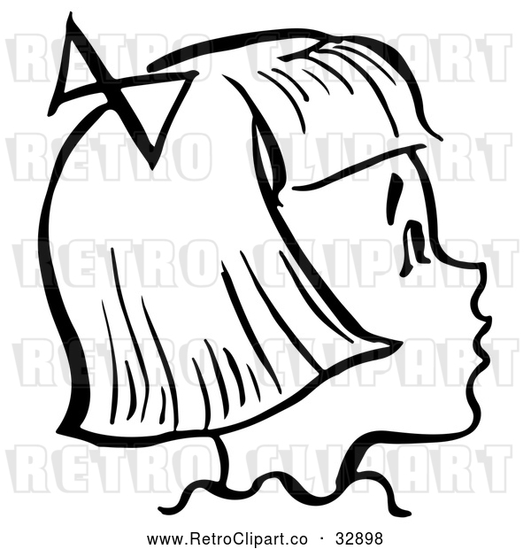 Vector Clip Art of Retro Happy Girl in Profile in Black and White