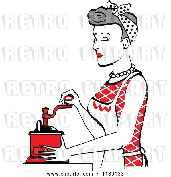 Vector Clip Art of Retro Happy Gray Haired Housewife Using a Manual Coffee Grinder in Profile 2