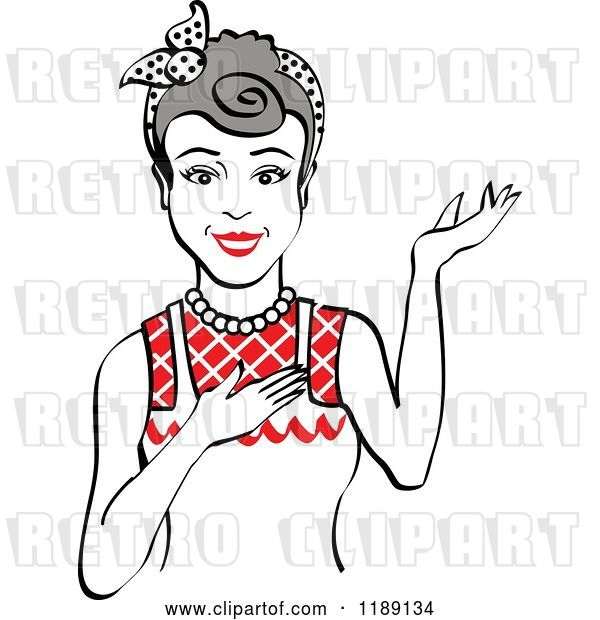 Vector Clip Art of Retro Happy Gray Haired Housewife, Waitress or Maid Lady Wearing an Apron and Presenting 2