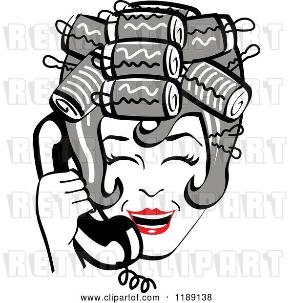 Vector Clip Art of Retro Happy Gray Haired Housewife with Her Hair up in Curlers, Laughing While Talking on a Landline Telephone