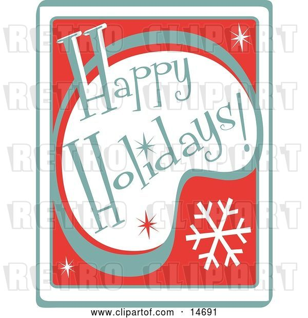 Vector Clip Art of Retro Happy Holidays Greeting Clipart Illustration