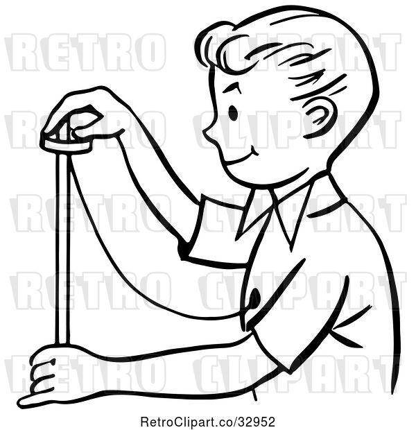 : Vector Clip Art of Retro Happy Magician Boy Performing a Rising Ring Trick