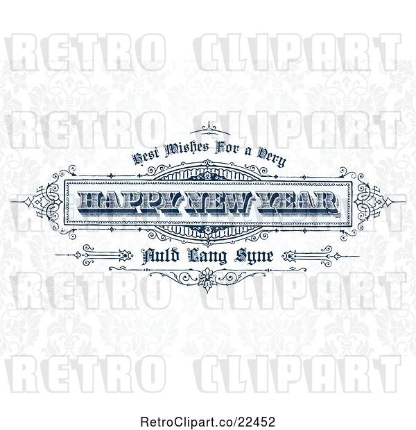 Vector Clip Art of Retro Happy New Year Greeting over Faint Floral