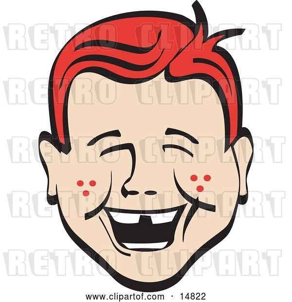 Vector Clip Art of Retro Happy Red Haired Freckled Boy with Missing Front Teeth, Laughing
