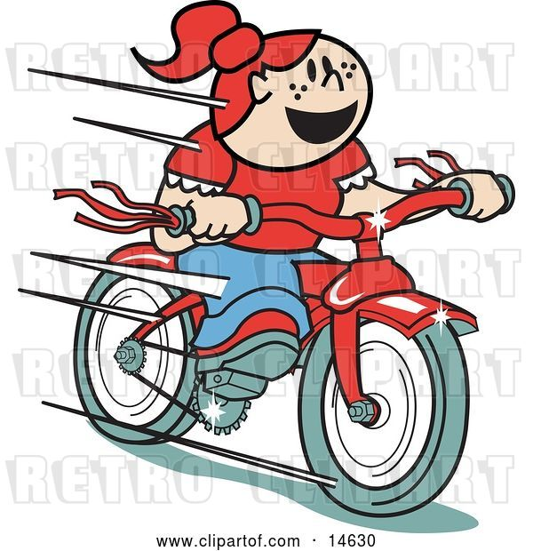 Vector Clip Art of Retro Happy Red Haired Girl Speeding Downhill on Her Brand New Red Bike