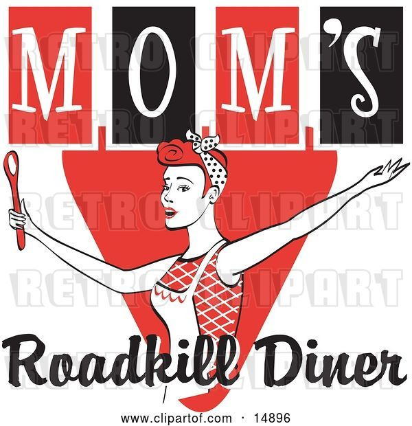 Vector Clip Art of Retro Happy Red Haired Lady in an Apron, Her Hair up in a Scarf, Singing and Dancing with a Spoon on a Red and Black Sign for Mom's Roadkill Diner