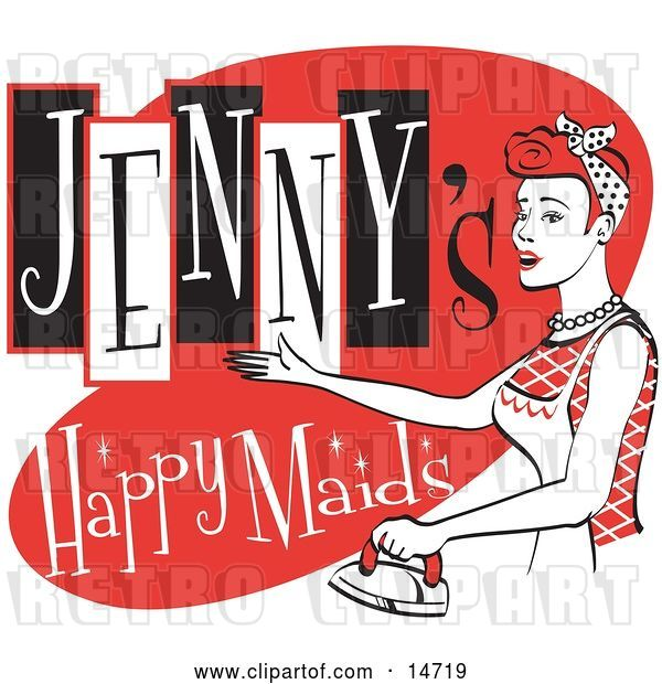 Vector Clip Art of Retro Happy Redhaired Lady in an Apron, Ironing Clothes on a Jenny's Happy Maids Advertisement