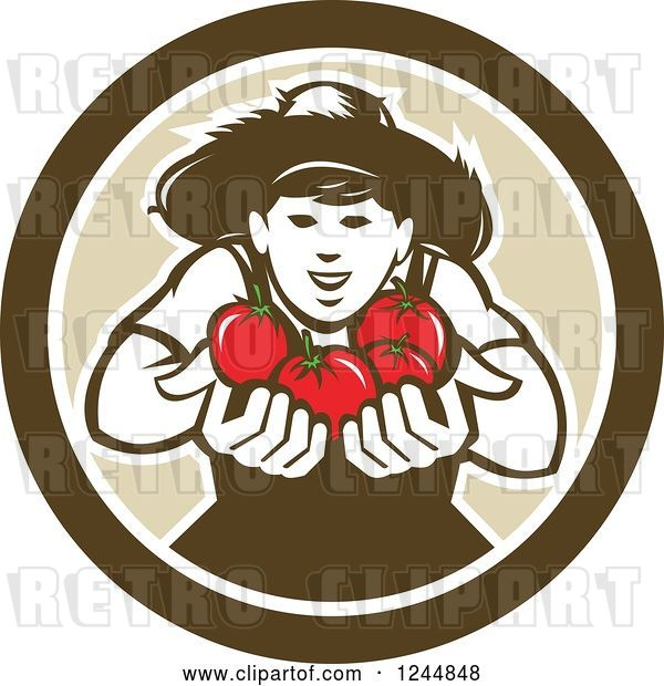 Vector Clip Art of Retro Happy Tomato Farmer Holding Tomatoes in a Circle