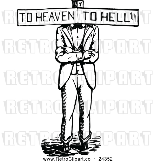 Vector Clip Art of Retro Haven or Hell Sign Man