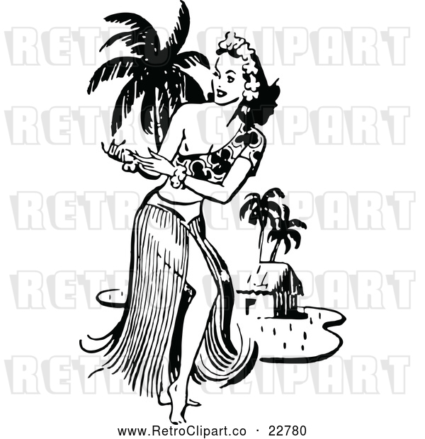 : Vector Clip Art of Retro Hawaiian Hula Dancer near a Beach Hut