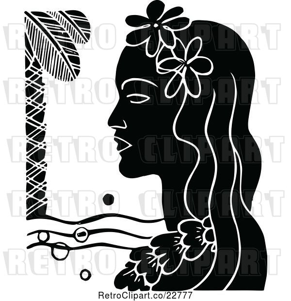 Vector Clip Art of Retro Hawaiian Lady with a Floral Lei and Palm Tree