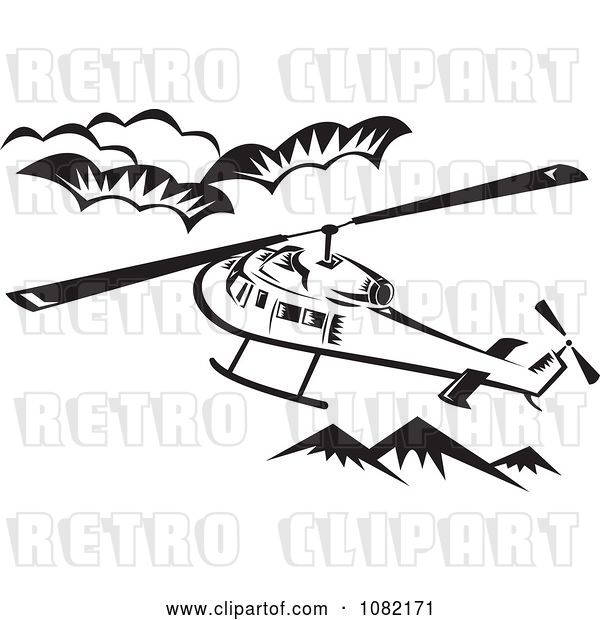 Vector Clip Art of Retro Helicopter Above Mountains