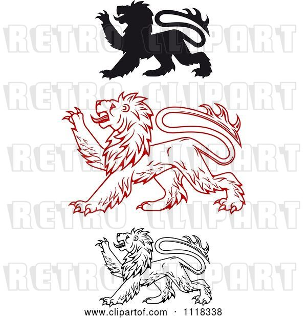 Vector Clip Art of Retro Heraldic Lions Clawing