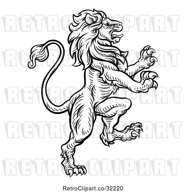 Vector Clip Art of Retro Heraldic Rampant Lion