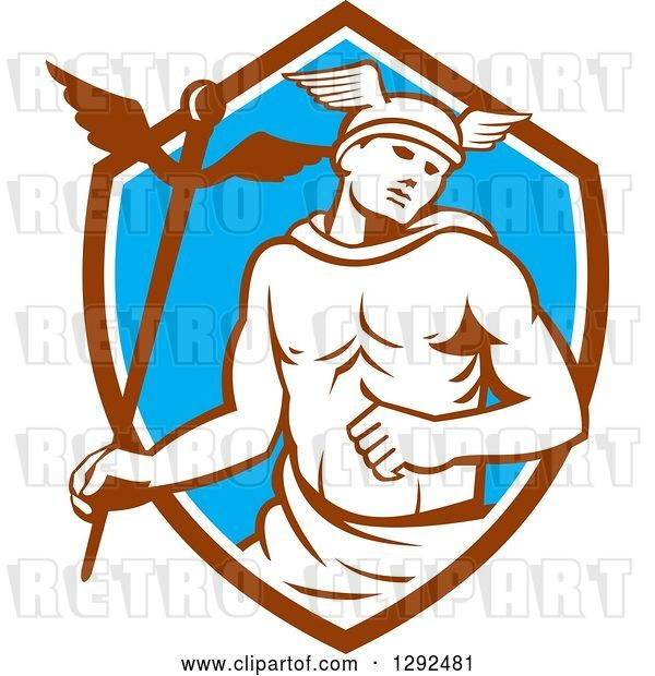 Vector Clip Art of Retro Hermes with a Caduceus in a Brown White and Blue Shield