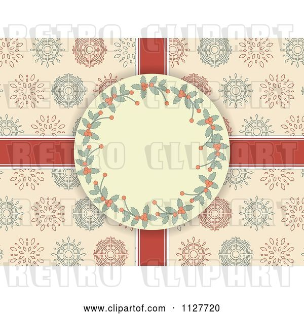 Vector Clip Art of Retro Holly Christmas Frame over Ribbons and Snowflakes on Pink