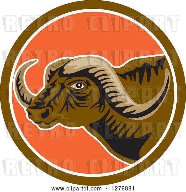 Vector Clip Art of Retro Horned African Buffalo Head in a Brown White and Orange Circle
