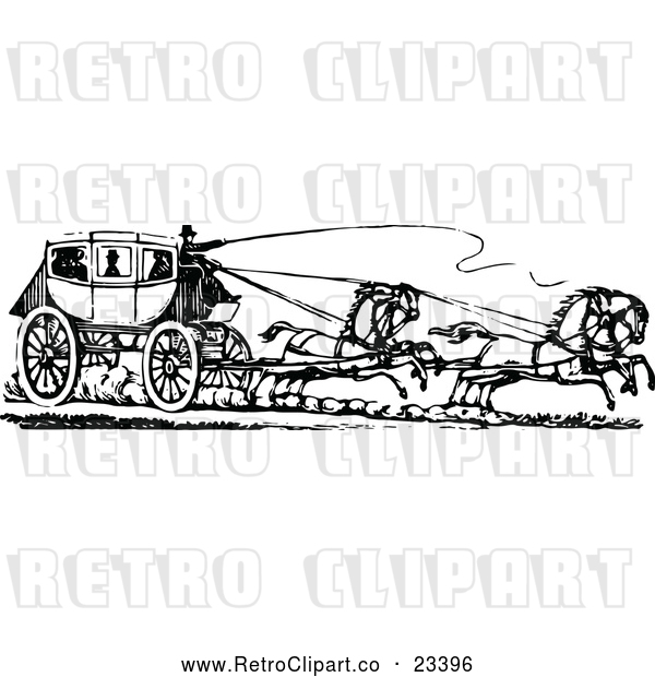 Vector Clip Art of Retro Horse Drawn Carriage and Passengers 2