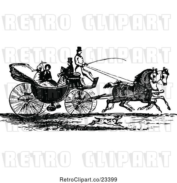 Vector Clip Art of Retro Horse Drawn Carriage and Passengers 3