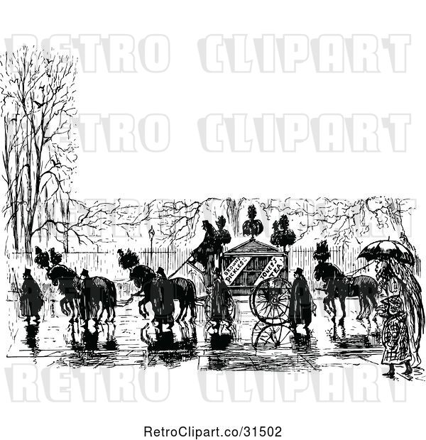 Vector Clip Art of Retro Horse Drawn Carriage and People in a Wet Street with Copyspace