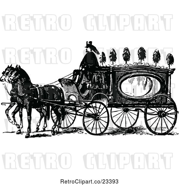 Vector Clip Art of Retro Horse Drawn Coach Carriage