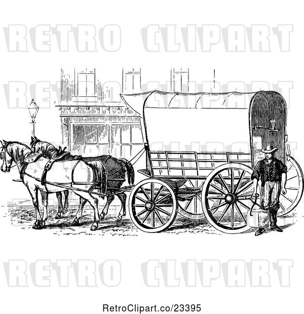 Vector Clip Art of Retro Horse Drawn Covered Wagon Carriage