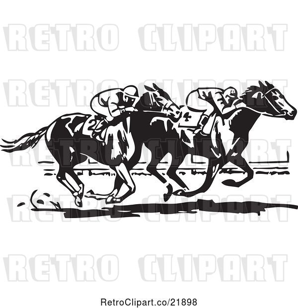 Vector Clip Art of Retro Horse Race