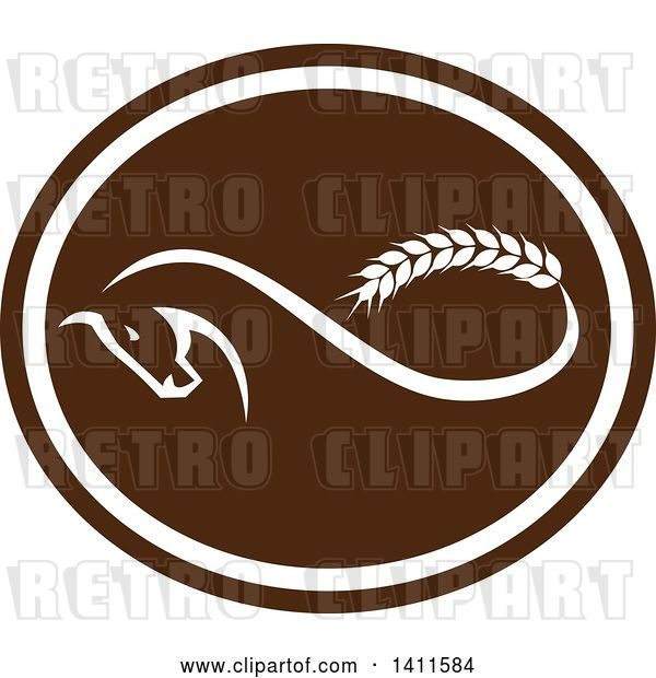Vector Clip Art of Retro Horse with a Malt Wheat Tail, Forming a Mobius Strip in a Brown and White Oval