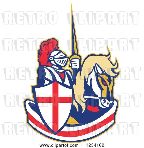 Vector Clip Art of Retro Horseback Jousting Knight over an English Flag Banner