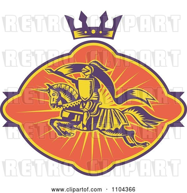 Vector Clip Art of Retro Horseback Knight with a Spear Under a Crown