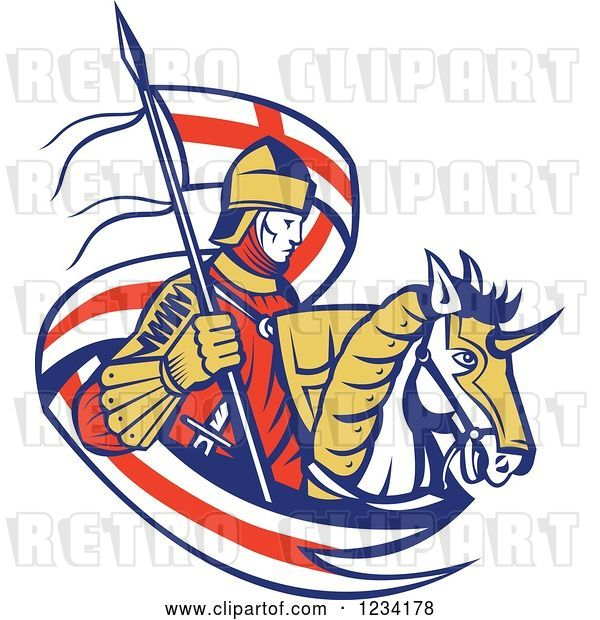 Vector Clip Art of Retro Horseback Knight with an English Flag Banner