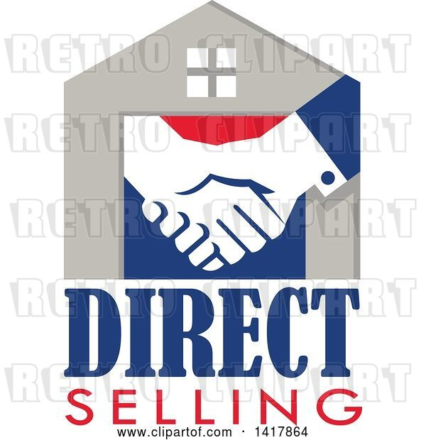 Vector Clip Art of Retro House with Shaking Hands and Direct Selling Text
