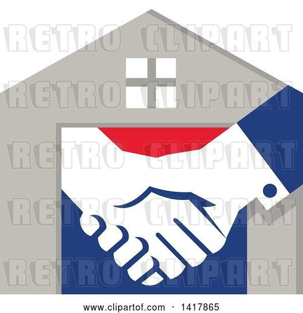 Vector Clip Art of Retro House with Shaking Hands