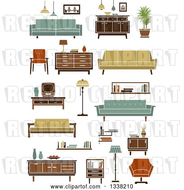 Vector Clip Art of Retro Household Furniture 6