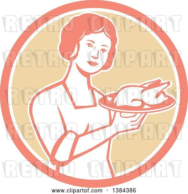 Vector Clip Art of Retro Housewife Holding a Roasted Chicken on a Plate in a Pink White and Tan Circle