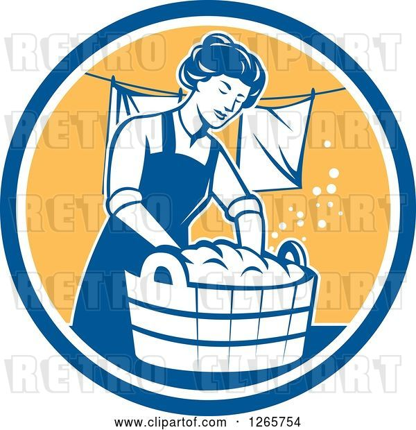Vector Clip Art of Retro Housewife Lady Doing Laundry in a Blue White and Yellow Circle