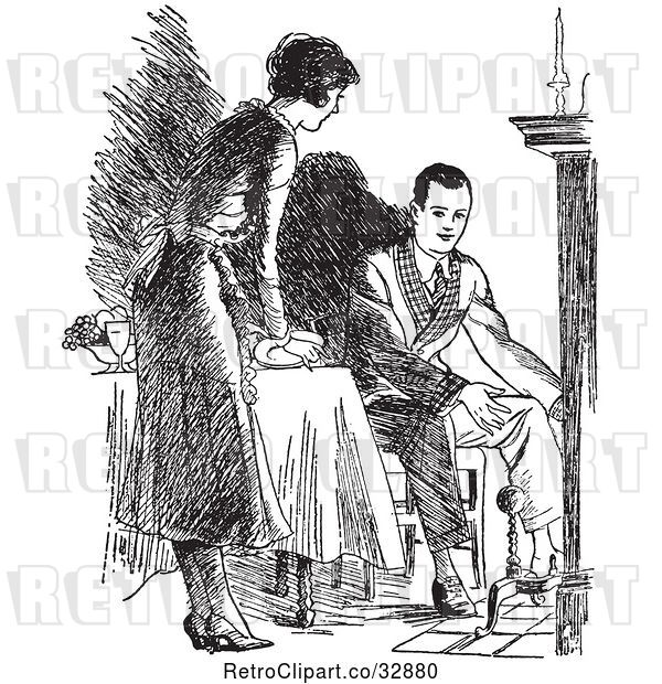 Vector Clip Art of Retro Housewife Setting a Fireside Table for Her Husband