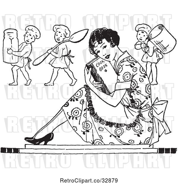 Vector Clip Art of Retro Housewife Sitting with a Cook Book and Cherub Chefs