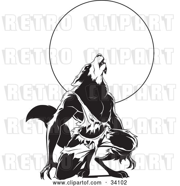 Vector Clip Art of Retro Howling Wolfman in Torn Clothes, Kneeling in Front of a Full Moon