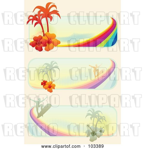 Vector Clip Art of Retro Igital Collage of Tropical Surf Website Banners