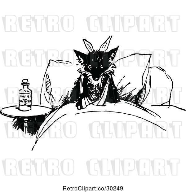Vector Clip Art of Retro Injured Fox in Bed