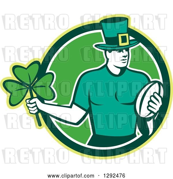 Vector Clip Art of Retro Irish Rugby Player with a Ball and Shamrock in a Green and White Circle
