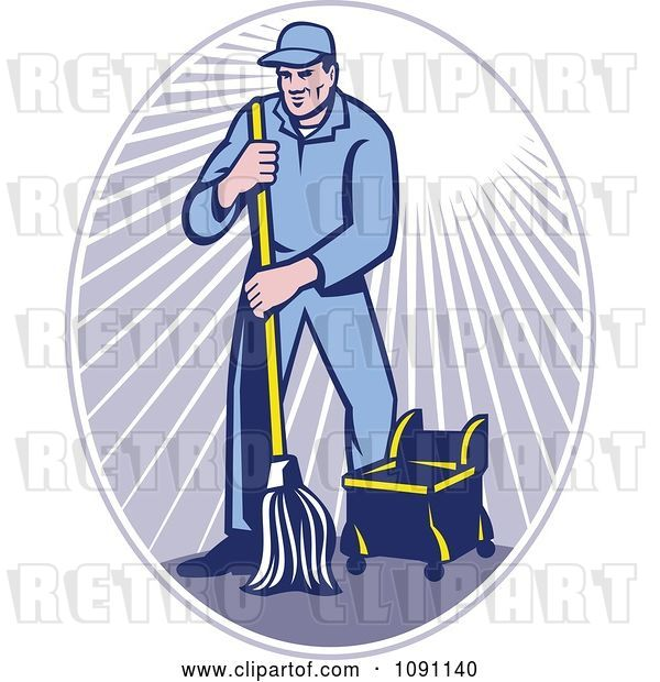 Vector Clip Art of Retro Janitor Using a Mop in a Ray Oval