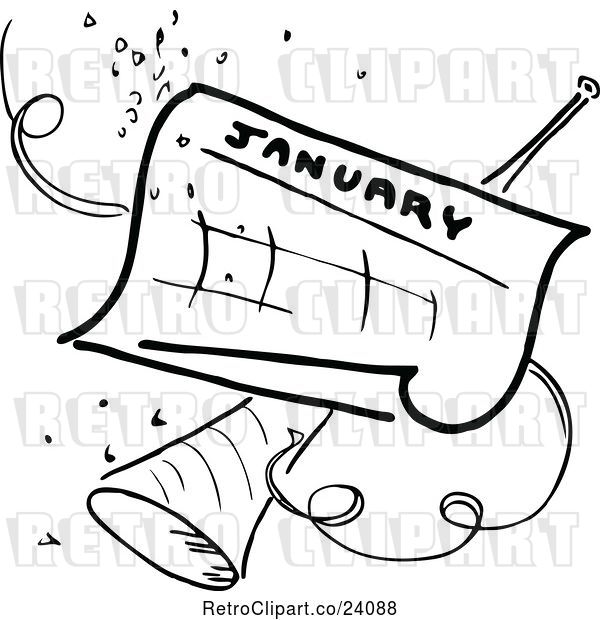 Vector Clip Art of Retro January Calendar with Party Confetti and Horn