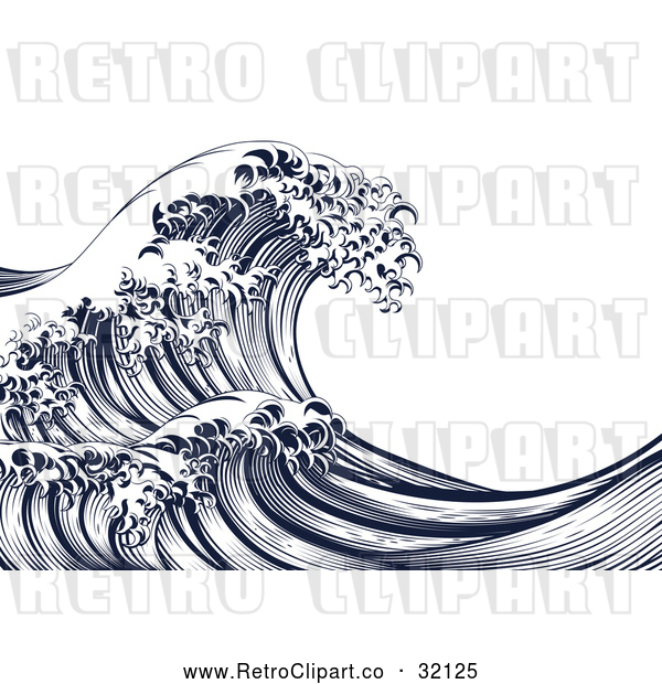 Vector Clip Art of Retro Japanese Styled Ocean Wave